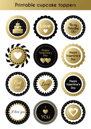 Set of printable gold and black cupcake toppers, tags for Valentines day party Ilustração