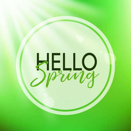 Hello spring lettering. Vector card with frame Illustration
