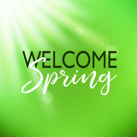 Welcome spring. Vector green card with lettering Illustration