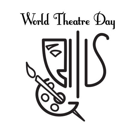 World theater day Vector greeting card