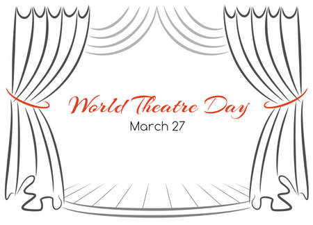 World theatre day vector greeting card with curtains and scene