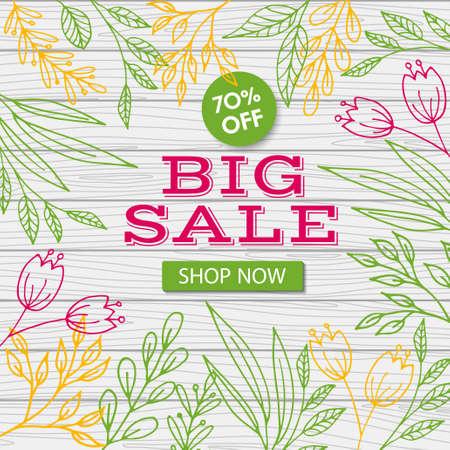 Big sale banner template. Vector discount flyer