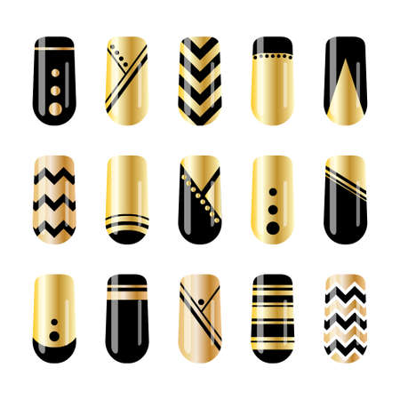 Nail art. Gold and black nail stickers design Vector illustration. Çizim