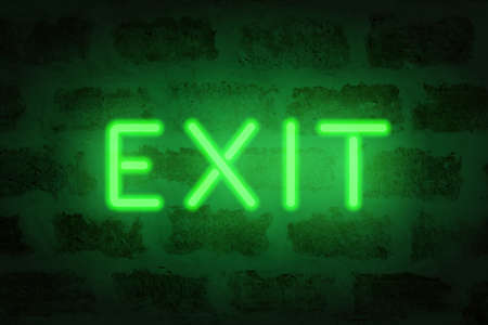 Neon exit. Vector letters on the brick wall.