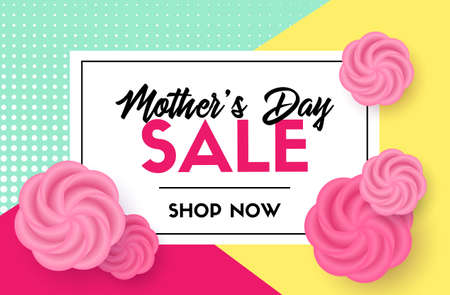 Discount template for Mothers day sale card with flowers.
