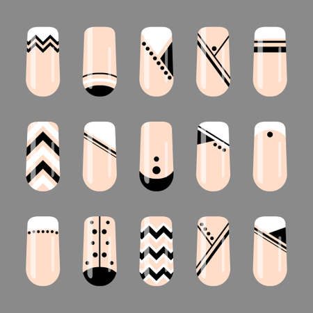 Nail art. Geometric black and white nude design