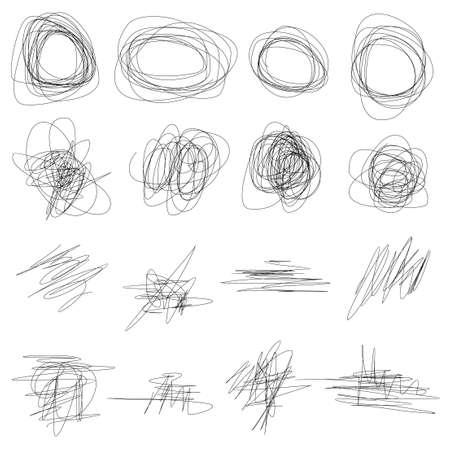 Conjunto de garabatos dibujados a mano de vector abstracto. Elementos de diseño