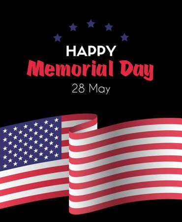 Happy memorial day 26 May Vector greeting card