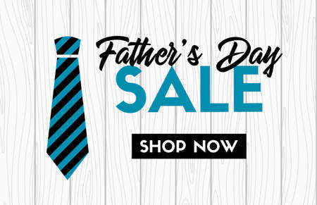 Fathers day sale vector banner with necktie. Web promotional template isolated on plain background.