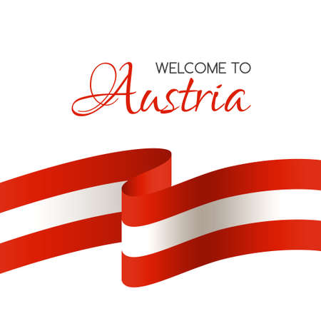 Welcome to Austria. Vector welcome card with national flag of Austria