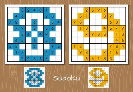 Sudoku game with the answers. 8, 9 numbers Illustration