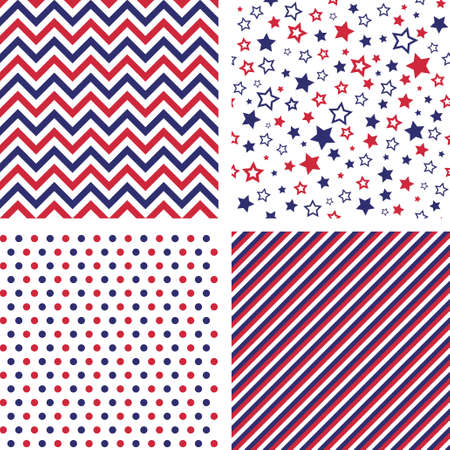 Set of US style vector seamless patterns