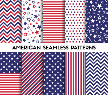 Big set of american style vector seamless patterns