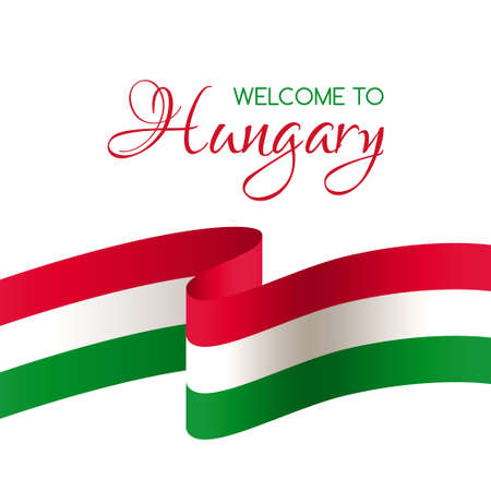 Welcome to Hungary. Vector card with national flag of Hungary