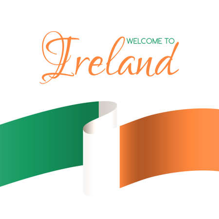 Welcome to Ireland. Vector card with national flag of Ireland