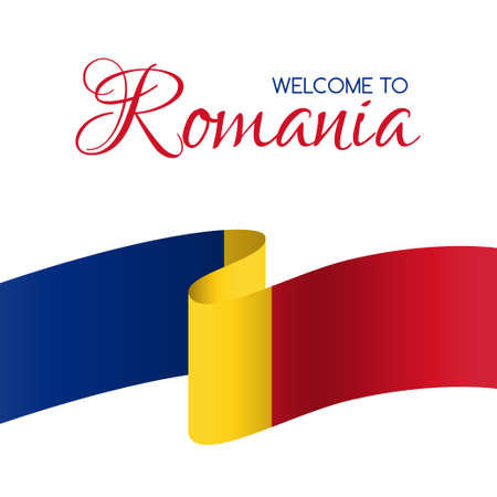 Welcome to Romania. Card with flag of Romania Stock fotó