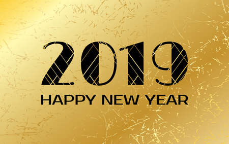 Happy New Year 2019. Vector greeting card with numbers on golden background