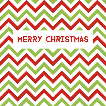 Merry Christmas. Vector greeting card with chevron pattern