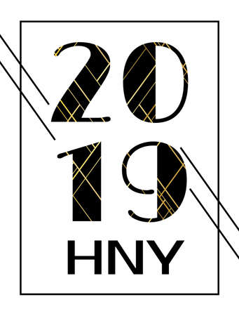 2019. Happy New Year. Vector vertical greeting card, calendar cover template