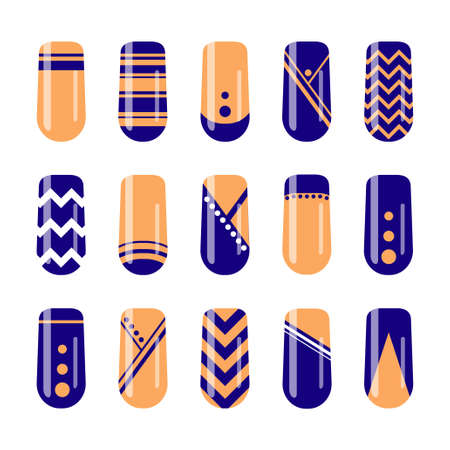 Nail art design. Vector set of geometric designs for nail polish