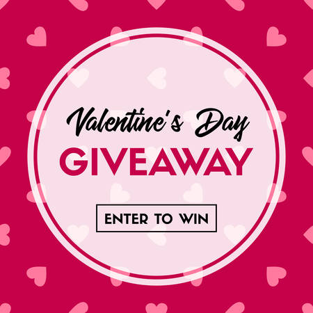 Valentine's Day giveaway. Enter to win. Vector banner template for online holiday contest. 向量圖像