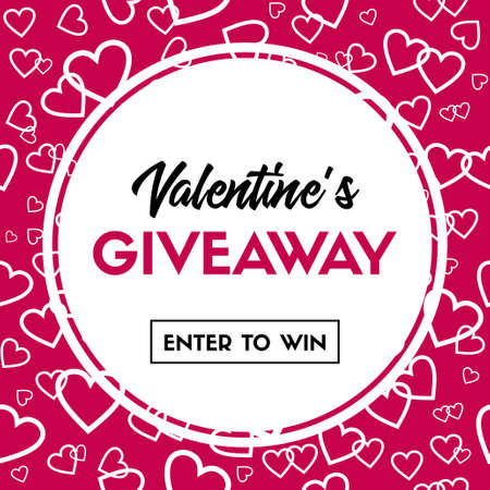 Valentine's Day giveaway card. Enter to win. Vector banner template for online holiday contest