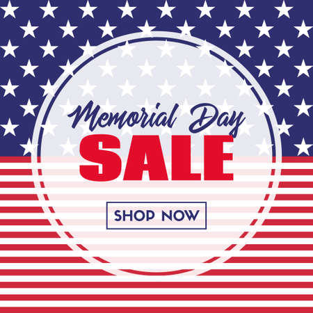 Memorial day sale banner. Vector template with usa flag