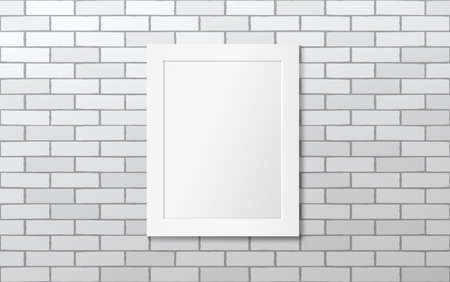 White frame on a white brick wall. Vector mock up. Gallery Illustration