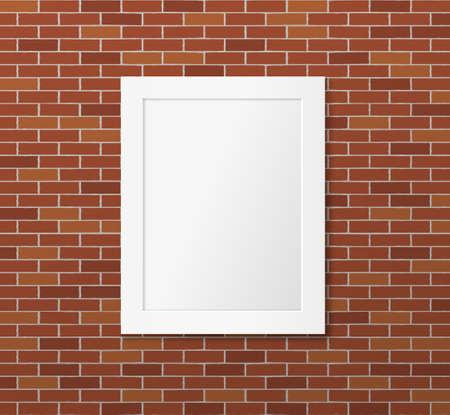 White frame on a brick wall. Vector mock up for poster design Illustration