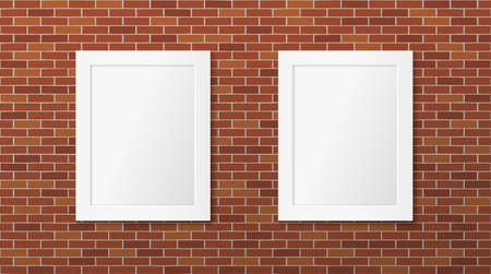 Two white frames on a brick wall. Vector picture frames layout. Gallery Illustration