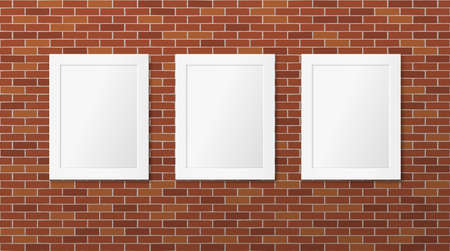 Three white frames on a brick wall. Vector picture frames layout. Gallery