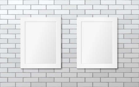 Two white picture frames on a white brick wall. Vector mock up Illustration