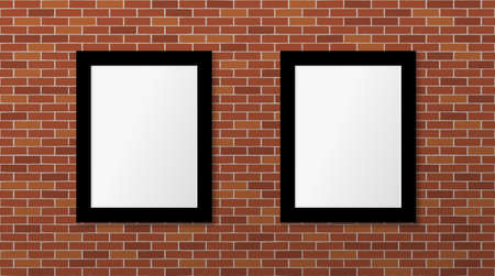 Two black frames on a brick wall. Vector mock up