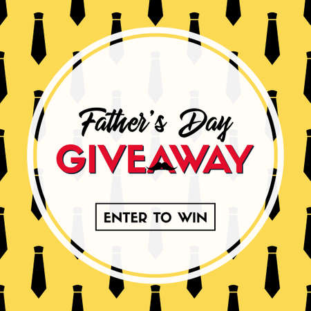 Fathers day giveaway. Vector banner temlate for social media Illustration