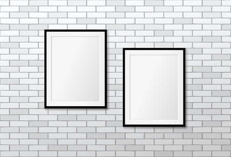 Two modern frames on a white brick wall. Vector mock up. Picture frames layout