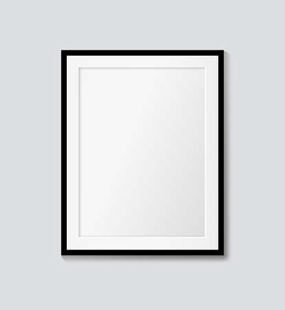 Black frame with passepartout on the wall. Vector mock up
