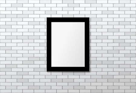 Black frame on white brick wall. Vector mock up