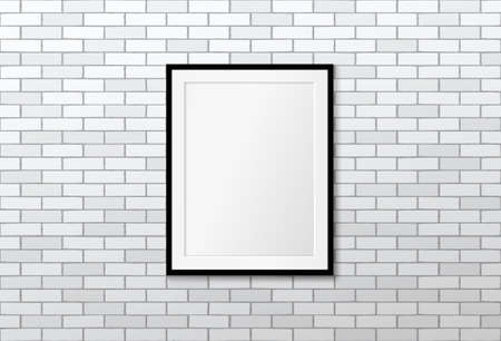 Modern frame on brick wall. Vector mock up. Loft interior design Illustration