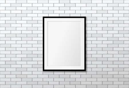 Modern frame on brick wall. Vector mock up. Loft interior design Illustration