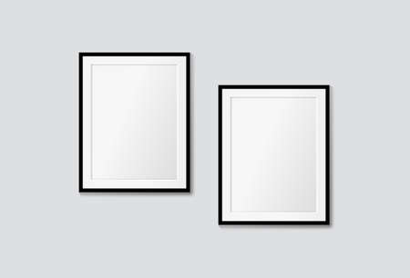 Vector modern frames on a white wall. Interior galery mock up Illustration