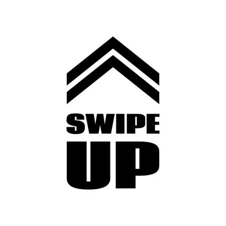 Swipe up sign. Vector scrolling button template for social media app
