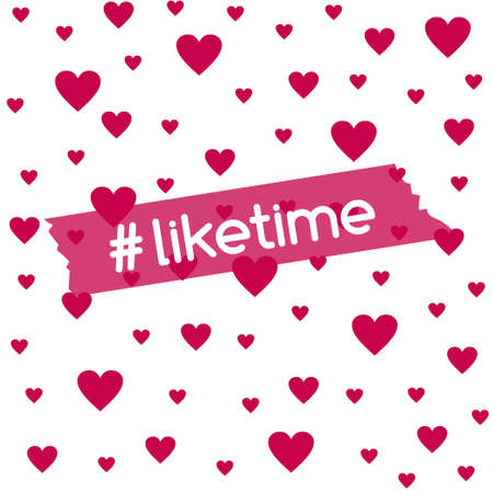 Liketime. Vector background with hearts for social media