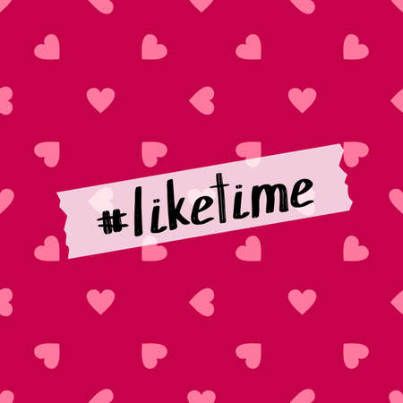 Like time. Vector background with hearts for social media promotion  イラスト・ベクター素材