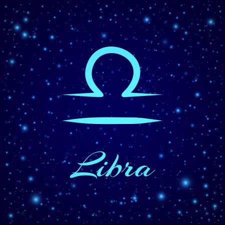 Libra. Vector zodiac sign on a night sky  イラスト・ベクター素材