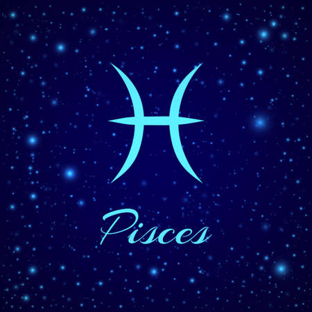 Pisces. Vector zodiac sign on a night sky