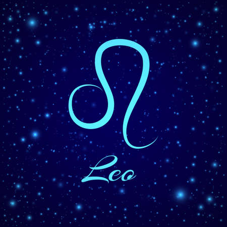 Leo. Vector zodiac sign on a night sky