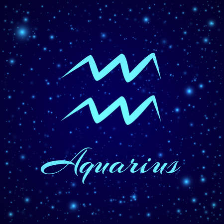 Aquarius. Vector zodiac sign on a night sky  イラスト・ベクター素材