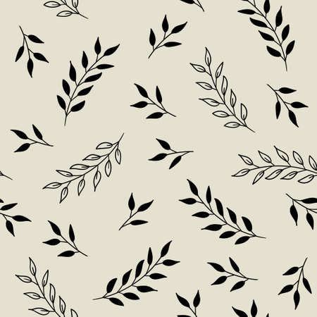 Vector seamless pattern with leaves. Monochrome floral background for fabric, wallpaper, wrapping paper design  イラスト・ベクター素材