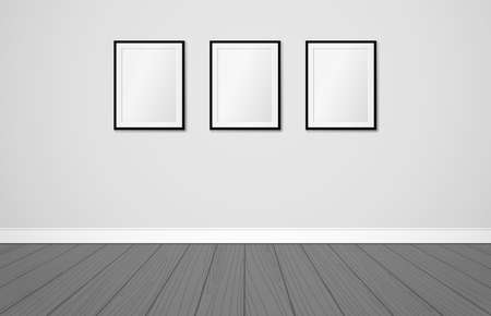 Three frames on a wall. Vector mock up template. Modern scandinavian interior design