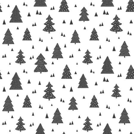 Christmas scandinavian seamless pattern. Vector background with hand drawn christmas trees